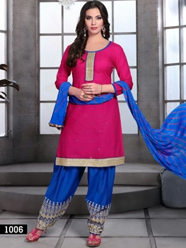 Picture of 1006 Bright Pink and Royal Blue Cotton Jacquard Daily Wear Salwar Suit