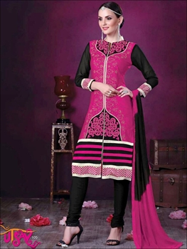 Picture of 105Magenta and Black Daily Wear Embroidered Satin Cotton Designer Suit