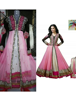 Picture of Pink and White Party Wear Net Aanarkali Style Replica