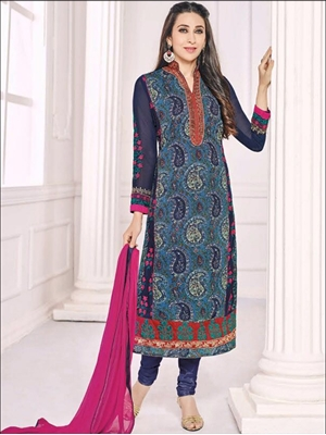 Picture of 30008DarkBlue and SteelBlue Party Wear Georgette Straight Suit