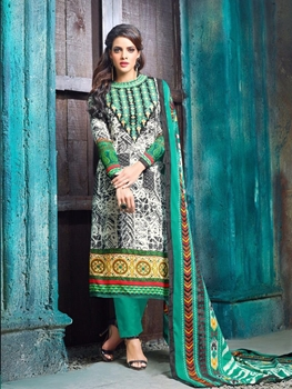 Picture of 9015Green Black and Cream Pure Cotton Satin Party Wear/Daily Wear Straight Suit