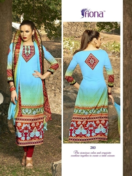 Picture of 203LSkyBlue and Red Pure Cotton Satin Daily Wear Straight Suit