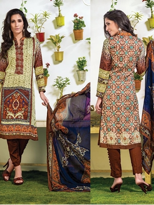 Picture of 06Beige and Brown Party Wear Cotton Modal Straight Suit