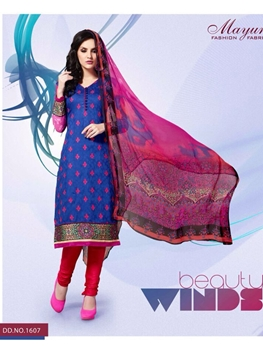 Picture of 1607Blue and Red Party Wear Cotton Satin Jacquard Straight Suit
