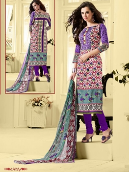 Picture of 15024 Multicolor and Indigo Cotton Satin Straight Suit