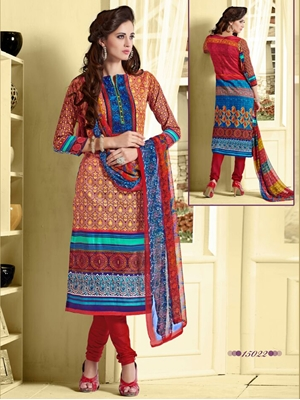 Picture of 15022 Multicolor and Red Cotton Satin Straight Suit