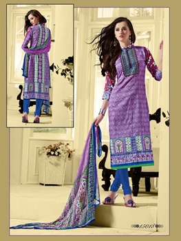 Picture of 15018 Purple and Royal Blue Cotton Satin Straight Suit