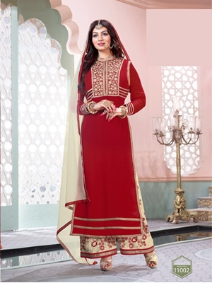 Picture of 11002Red and OffWhite Party Wear Pure Georgette Designer Suit