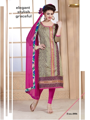 Picture of 4006Sandy Brown and Magenta Daily Wear Chanderi Straigh Suit