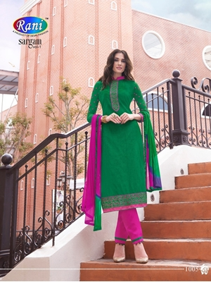 Picture of 1005Green and Magenta Daily Wear Handloon Cotton Straight Suit