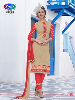 Picture of 1001SandyBrown and LightRed Daily Wear Handloon Cotton Straight Suit