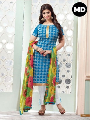 Picture of 2405 Designer Sky Blue Straight Suit
