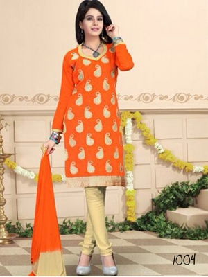 Picture of 1004 Saffron and Beige Daily Wear Chanderi Salwar Suit