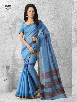 Picture of 9059DullBlue and Golden Daily Wear Cotton Silk Saree
