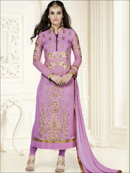 Picture of 6116LightPurple and Golden Georgette Party Wear Straight Suit