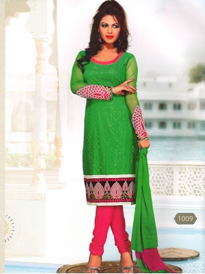 Picture of 1009Green and Pink Party Wear Russel Net Salwar Suit
