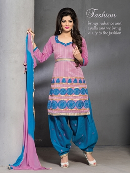 Picture of 23009CottonCandy and DarkSjyBlue Party Wear Chanderi Patiyala Suit