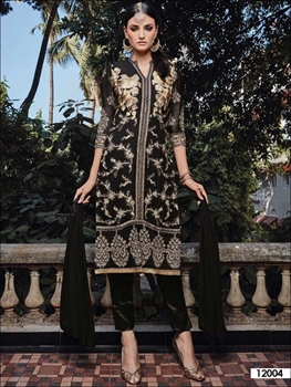 Picture of 12004Black Party Wear Faux Georgette Pakistani Suit