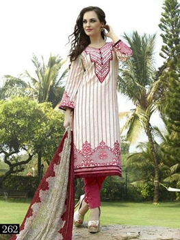 Picture of 262 Cream and Maroon Pakistani Suit
