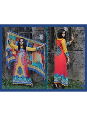Picture of 20000Yellow and Red Party Wear Satin Pakistani Suit