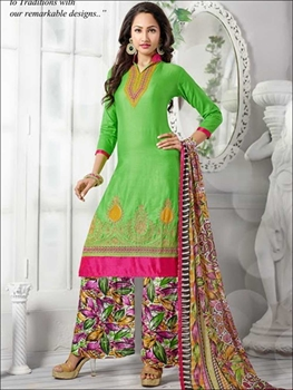 Picture of 1386LemonGreen and Multicolor Daily Wear Cotton Plazzo Suit