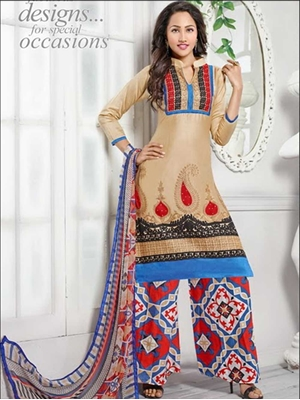 Picture of 1383Beige and Multicolor Daily Wear Cotton Plazzo Suit