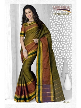 Picture of 4008MehandiGreen Cotton Function Wear Saree