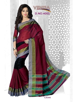 Picture of 4003Maroon and Black Cotton Function Wear Saree