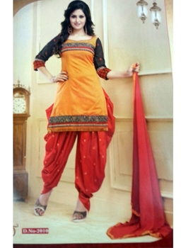 Picture of 2010Yellow and Red Daily Wear Patiala Suit
