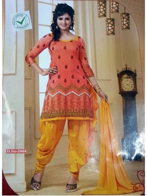 Picture of 2004Orange and Yellow Daily Wear Patiala Suit