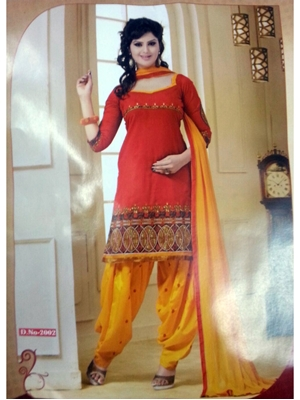 Picture of 2002Red and Yellow Daily Wear Patiala Suit