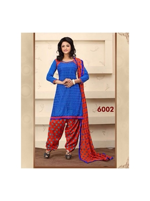 Picture of 6002 Royal Blue and Red Party Wear Chanderi Cotton Patiyala Suit