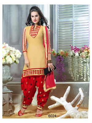 Picture of 6024Beige and Red Party Wear Chanderi Cotton Patiyala Suit
