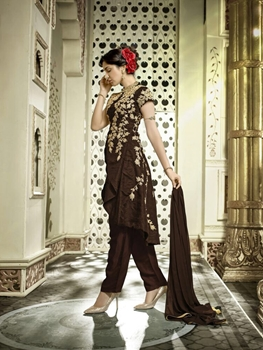 Picture of 1203 Brown and Cream Banglori Silk Designer Suit