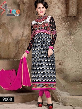 Picture of 9008 Black and Pink Georgette Party Wear Designer Suit