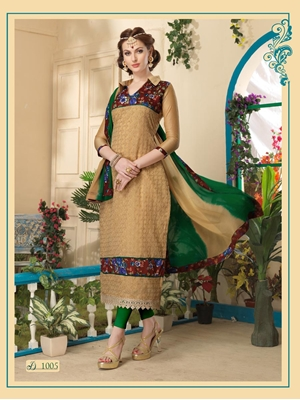 Picture of 1005SandyBrown and Green Party Wear Chanderi Bhagalpuri Straight Suit