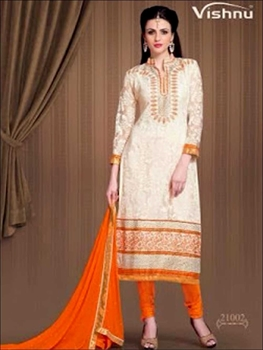 Picture of 21002Beige and Orange Rasal Net Straight Suit