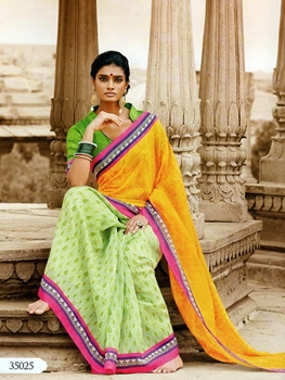 Picture of 35025Yellow and DullGreen Designer Bhagalpuri Saree