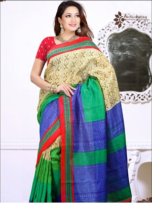 Picture of 19014 Red and Multicolor Daily Wear Cotton Based Saree