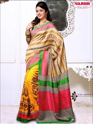 Picture of 19009B Brown and Yellow Daily Wear Cotton Based Saree