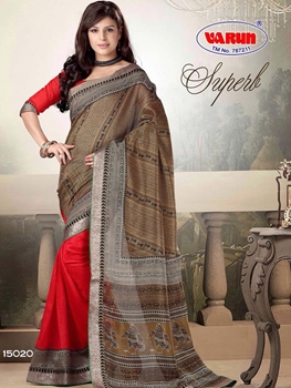 Picture of 15020 Brown and Red Printed Cotton Saree