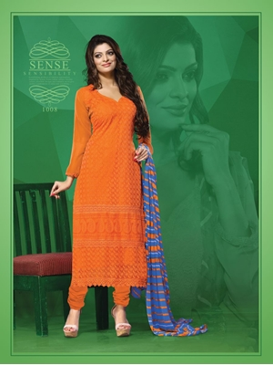 Picture of 1008Orange Party Wear Georgette Straight Suit
