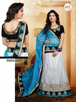 Picture of 51004Black and White Wedding Wear Valvet Lehenga Choli