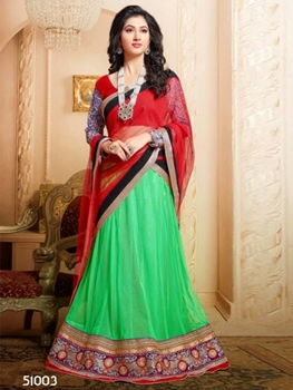Picture of 51003Red and ParrotGreen Wedding Wear Valvet Lehenga Choli