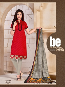 Picture of 45009Red and Gray Daily Wear Bangalore Silk Chudidar Suit