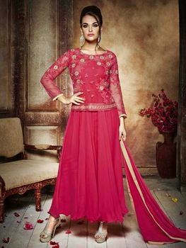 Picture of 145DarkPink Wedding Wear Embroidered Net and Georgette Designer Suit