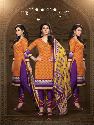 Picture of 1002Orange and Purple Daily Wear Heavy Banglori Printed Salwar Suit
