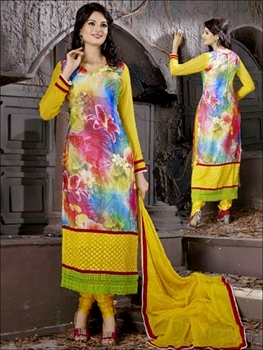 Picture of 8003Yellow and Multicolor Georgette Party Wear Digital Print Straight Suit