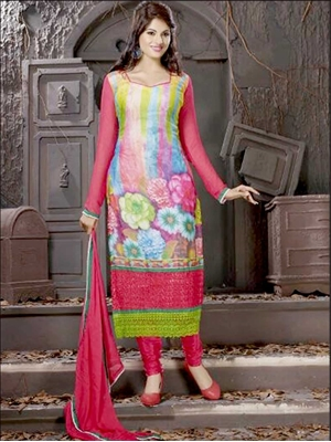 Picture of 8002Crimson and Multicolor Georgette Party Wear Digital Print Straight Suit