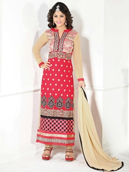 Picture of 40001DarkPink and SandyBrown Party Wear Embroidered Georgette Long Straight Suit